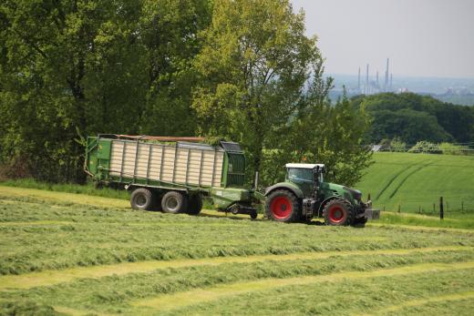 Traktor auf Feld bei Grassilage